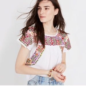 Madewell floral embroidered blouse XXS